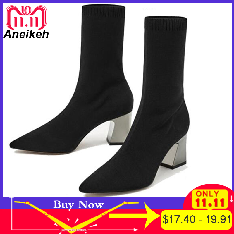 Aneikeh Fashion Ankle Elastic Sock Boots Chunky High Heels Stretch Women Autumn Sexy Booties Pointed Toe Women Pump Black