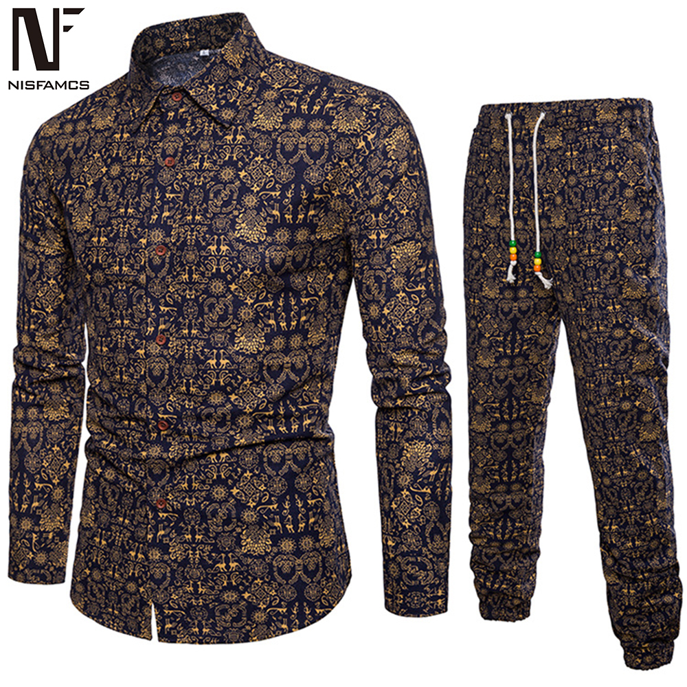 Vintage Floral Party Suits Man Long Sleeve Clothing Classic Chinese Style Printed Shirt Pants And Shirts Set Men Casual Clothes