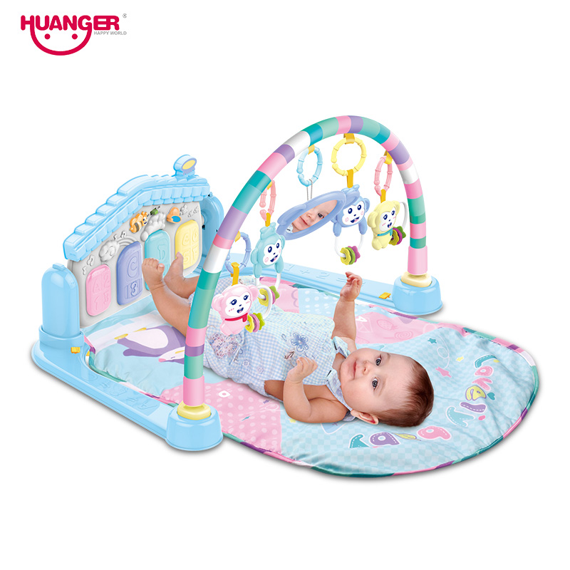 Huanger Baby Play Mat Multifunction Musical Piano Fitness Rack Baby Blanket 3 in 1 Educational Childrens Playful Carpet