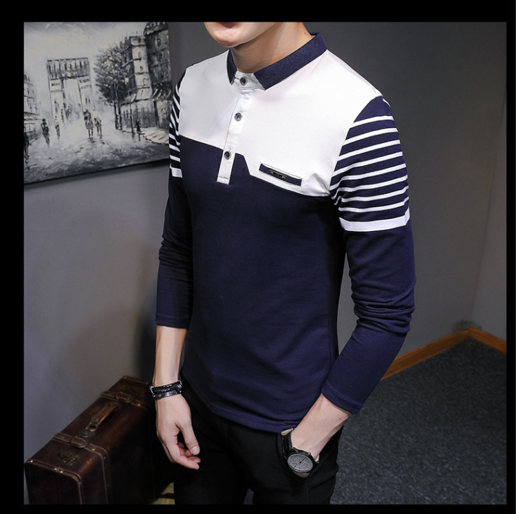 Business Casual Long Sleeve Men Polo Shirt Striped Autumn Winter Polos Cotton Slim Fit Camisa Polo Masculina 75