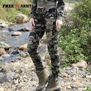 Image 3 - Yepyeni Bahar Ordu Kamuflaj Pantolon Kadın ince pantolon Bayanlar Askeri Pantolon Baskı Elastik Bel Moda Rahat Pantolon Kadın