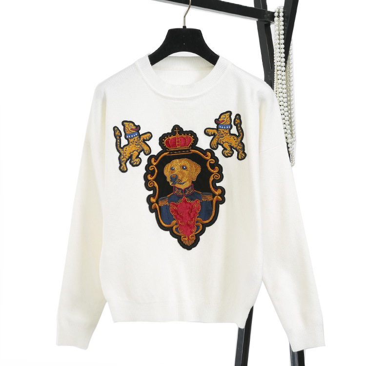 Autumn Winter Women Fashion Pullover Crown dog Embroidery Sweater Vintage O-neck Knitted Top Preppy Style blusas C-092