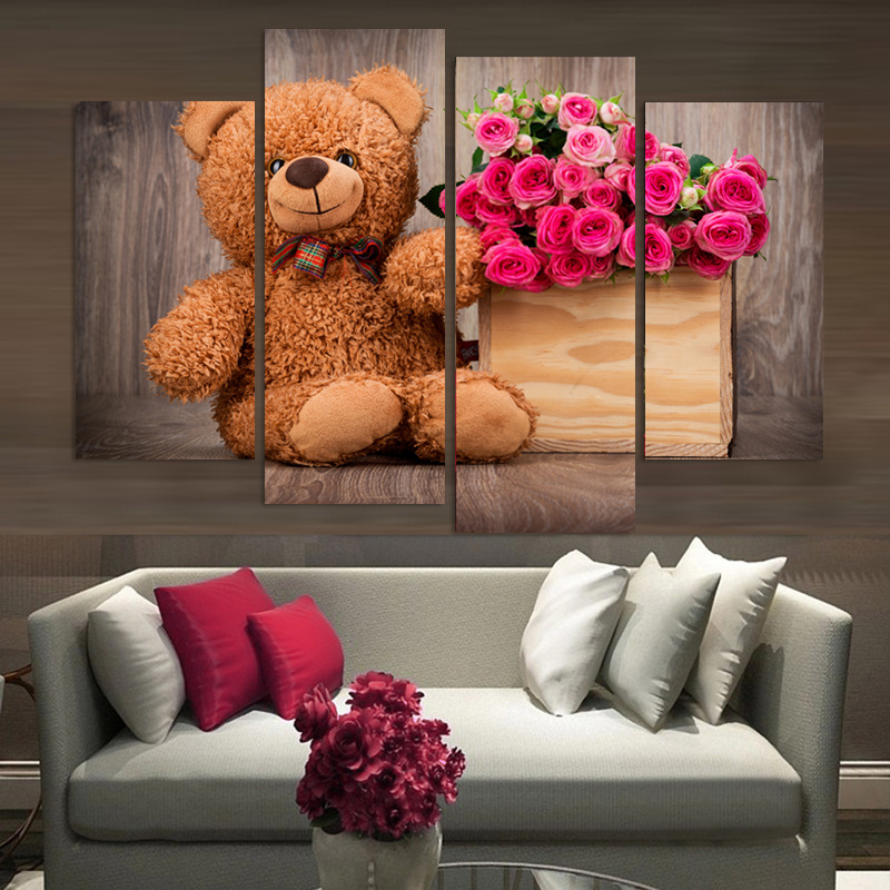 4 Pieces Teddy Bear Canvas Painting Beauty Flowers Modern Wall Pictures For Living Room Oil Cuadros Decoracion Modular Pictures ...