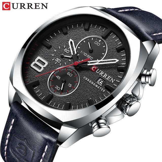 CURREN Reloj de pulsera deportivo para hombre, correa de cuero, cronógrafo, resistente al agua, 30 M, 2019