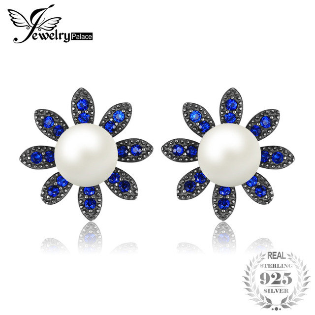 JewelryPalace Flower 0.35ct Created Blue Spinel Cultured Pearl Studs Earrings So