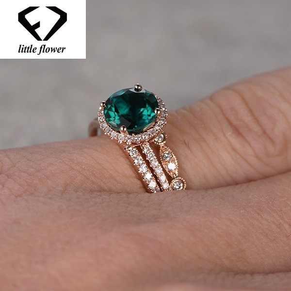 14k Rose Gold ชุดเทอร์คอยส์สามชิ้นแหวนเพชรมรกต Diamante เครื่องประดับ Anillos สำหรับผู้หญิงแหวนอัญมณี