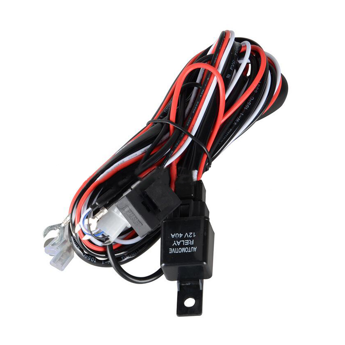 Dewtreetali Wiring Harness LED HID Work Driving Light Wiring Harness Kit Fog Spot Work Light 2.5m Length 12V 40A Switch Relay