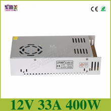 Free shipping DC12V 33A 400W Regulated Switching Power Supply Driver Transformers For  CCTV camera LED Strip Lights Tape Module