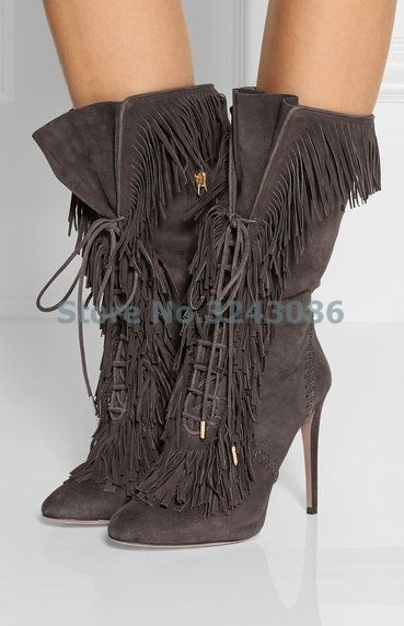 Dark Gray Faux Suede Pointed Toe Ankle Boots Tassel Cross Tied Thin HIgh Heel Gladiator Shoes Lace Up Casual Fashion Lady Boots kaeve blue denim lace up ankle boots fashion casual thin heels cross tied pumps round toe cowboy shoes jean snow boots