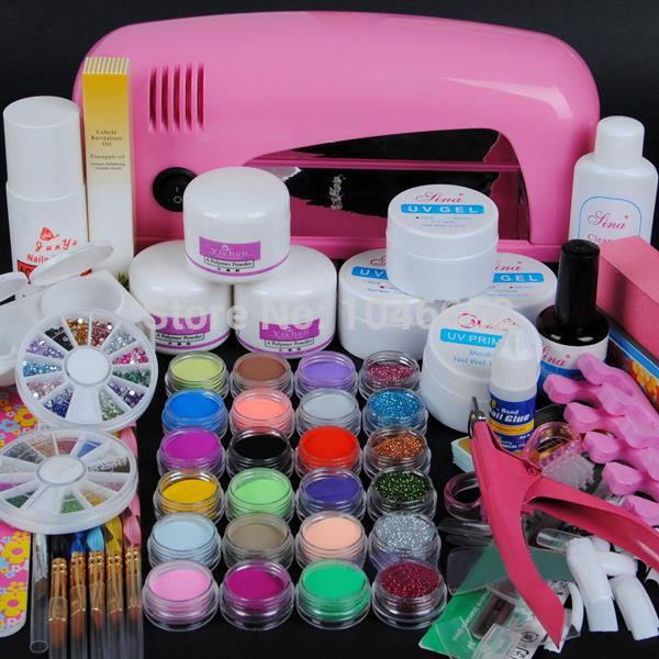 9W UV tørretumbler lampe 18 farver akryl pulver og 6 farver glitter pulver Nail Art Kit, neglekunst værktøjssæt BTT-70
