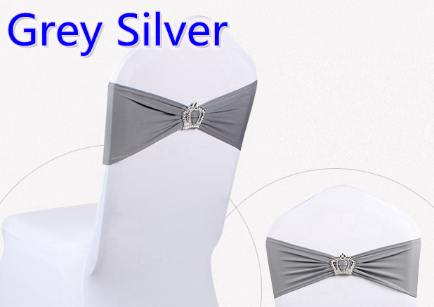Grey silver colour Crown buckle lycra sash for wedding chairs decoration spandex band stretch bow tie lycra ribbon belt on sale