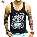 Verão 2017 da marca top homens tanque camisa sem mangas casuais moda moda carta impressão colete de fitness musculação clothing lw363
