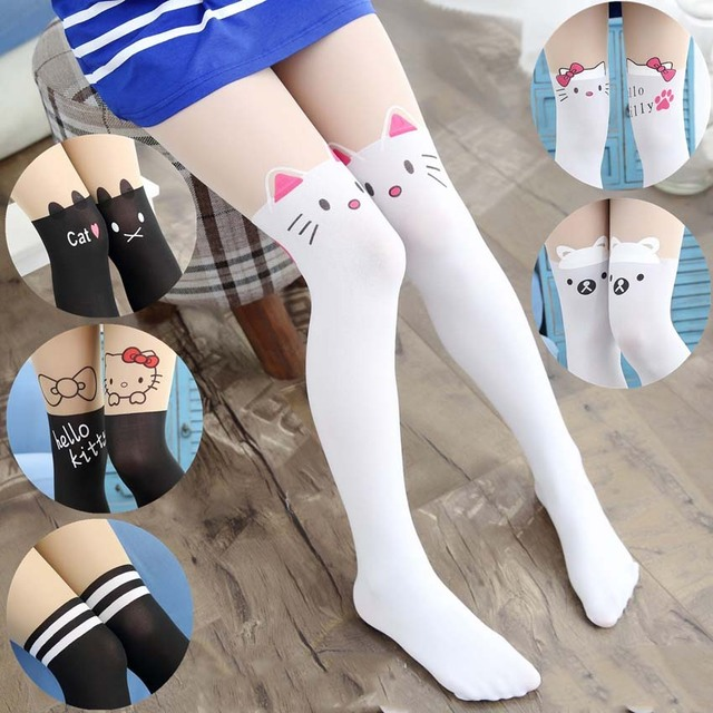 29adb0a9923 New Free Shopping Children Baby Kids Girls Tights Cute Pantyhose Hello  Kitty Knee Lovely Tattoo Tights