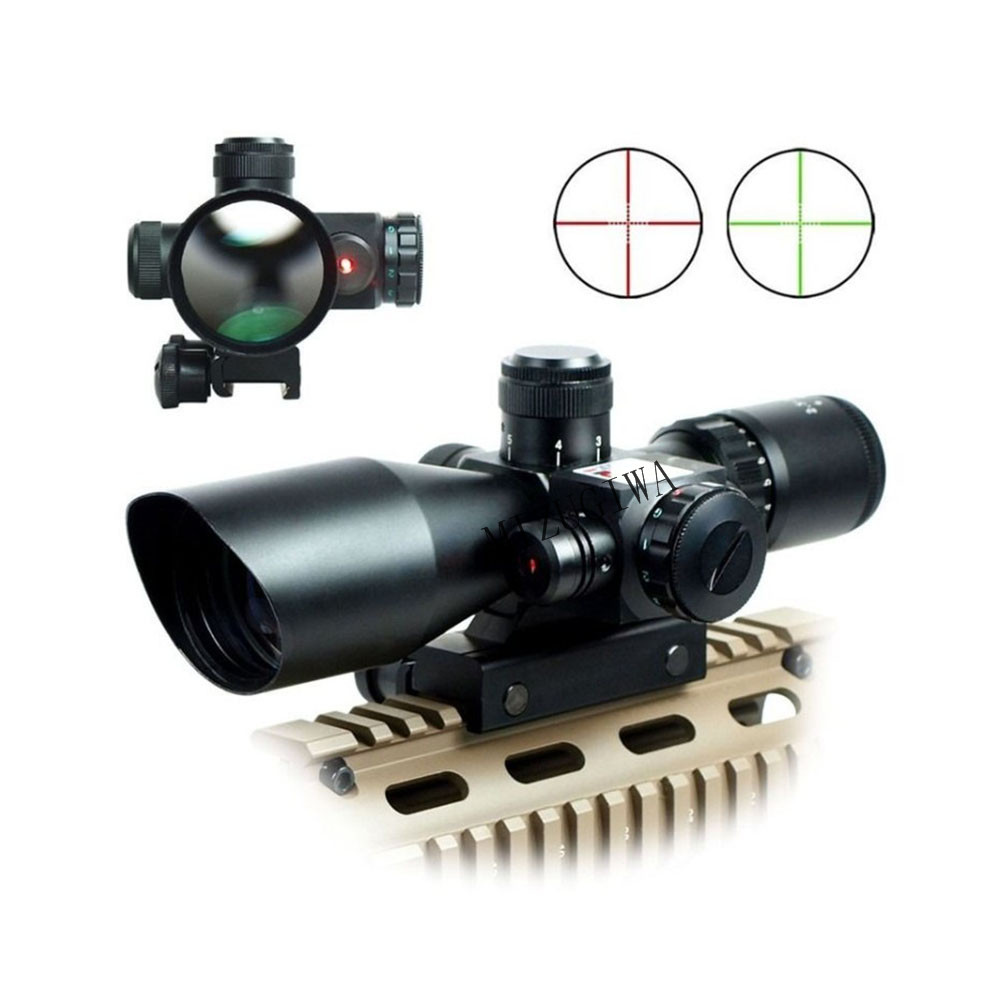 MIZUGIWA 2.5-10x40 RifleScope Red Laser Dual Illuminated Mil-dot W/ Rail Mounts Reflex Red Green Dot Sight Scope Hunting Caza 2 5 10x40 hunting riflescope red green laser dual illuminated scope mil dot rail mount shockproof hunting tactical riflescope