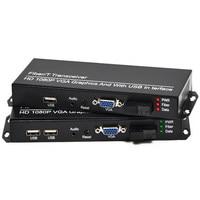 1 пара VGA + KVM волокно удлинитель VGA к преобразователь Оптического волокна аудио волокно трансивер SC/3,5 мм/USB Порты и разъёмы, 1080 P, 20 км