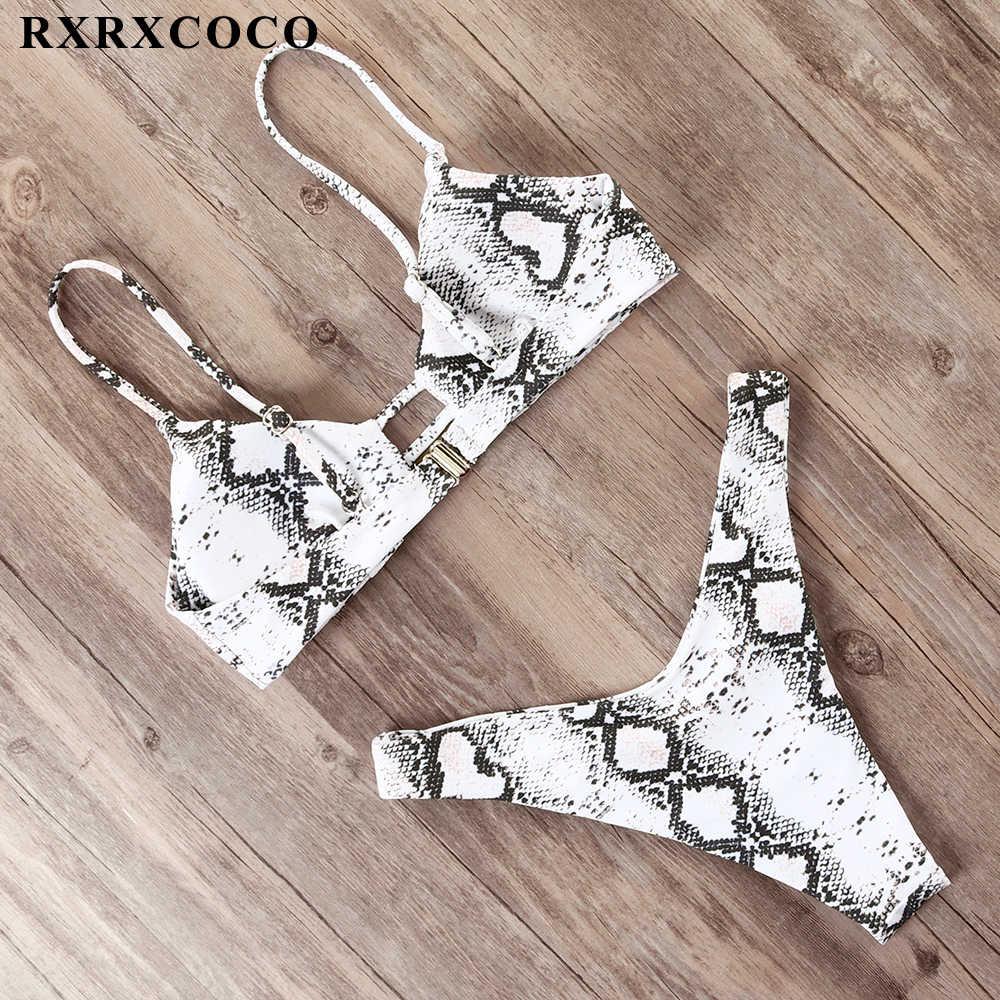 Rxrxcoco Bikini 2019 Gợi Cảm Thông Đồ Bơi Nữ Mùa Hè Áo Tắm Đẩy Lên Brasil Biquinis Loài Rắn In Hình Đồ Bơi Bikini
