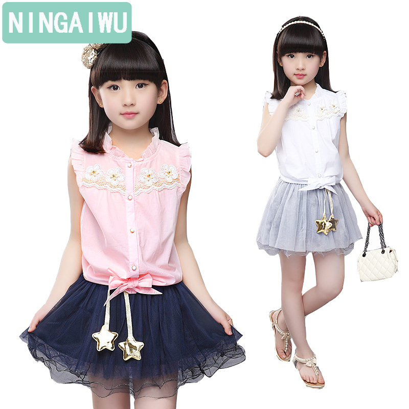Gilsr suits summer Children sleeveless shirt + short skirt  girl fashion sets twinset 3 6 8 9 11, 14years brand children clothes girl s fashion suits 100