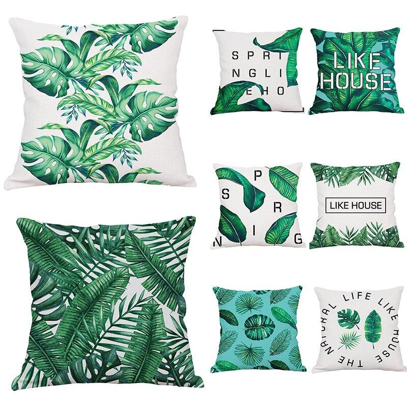 ヾ(^▽^)ノÁfrica planta Cojines cubierta Tropic Tree Green Mantas ...