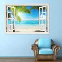 Été plage cocotier 3D fenêtre vue autocollant plage peintures murales amovible mur autocollant pour salon cuisine mur affiche