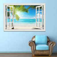 Summer Beach Coconut Tree 3D Window View Sticker Beach Wall Murals Removable Wall sticker for living room Kitchen Wall poster