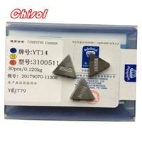 free shipping ZCC.CT 30pcs/box 3100511 YT5 YW2 YW1 YT15 YT14 YG6 YG8 carbide brazed inserts welding tips blade cutter