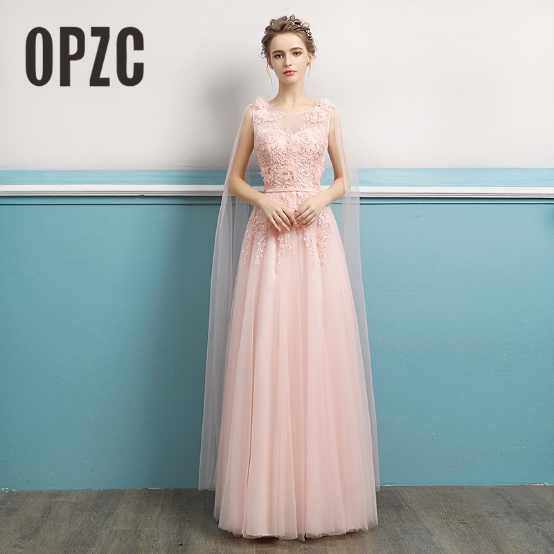 OPZC New Arrival 2018 Spring Long Straight Gown Crystal Appliques Flower Embroidered Pattern Lace Charming Evening Dress Queen