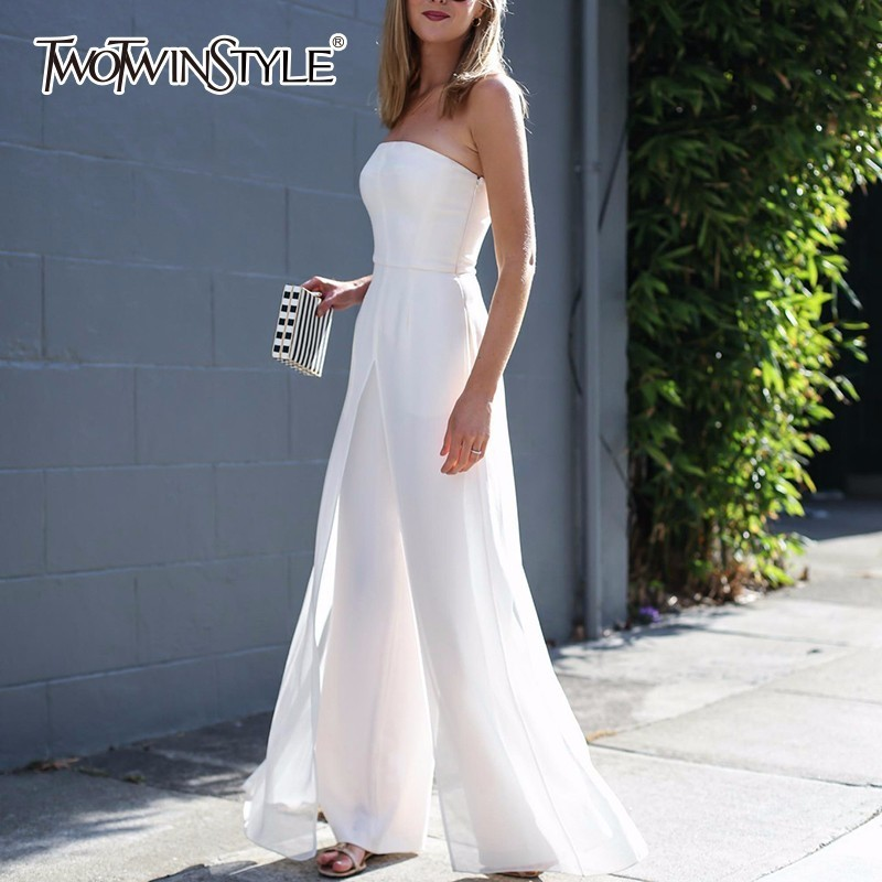 TWOTWINSTYLE Strapless Jumpsuits For Women Chiffon Off Shoulder High Waist Zipper Long Trouser 2019 Spring Fashion
