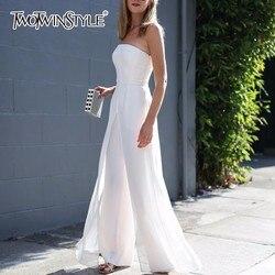 TWOTWINSTYLE Strapless Jumpsuits Voor Vrouwen Chiffon Off Shoulder Hoge Taille Rits Lange Broek 2019 Lente Mode Grote Maat