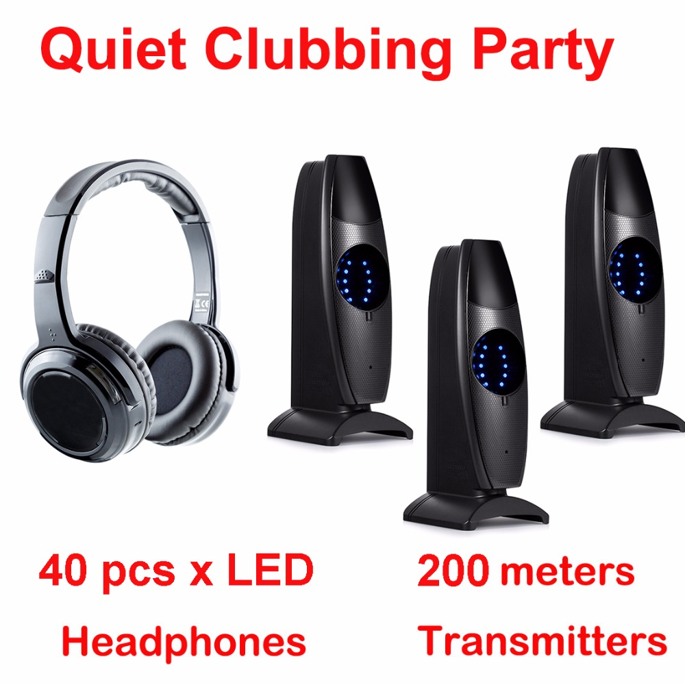 Silent Disco complete system black led wireless headphones - Quiet Clubbing Party Bundle (40 Headphones + 3 Transmitters)Silent Disco complete system black led wireless headphones - Quiet Clubbing Party Bundle (40 Headphones + 3 Transmitters)
