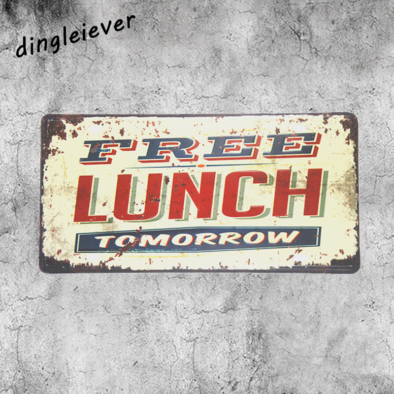 Free lunch tomorrow License plate vintage metal sign kitchen wall decor restaurant outdoor wall poster