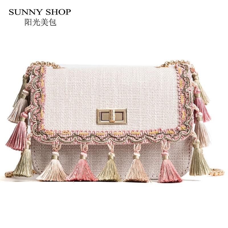 SUNNY SHOP Boho Fringe Crossbody Bag High Quality Women Fashion 2018 Mini Chain Shoulder Bag Canvas National Fashion Summer Bag
