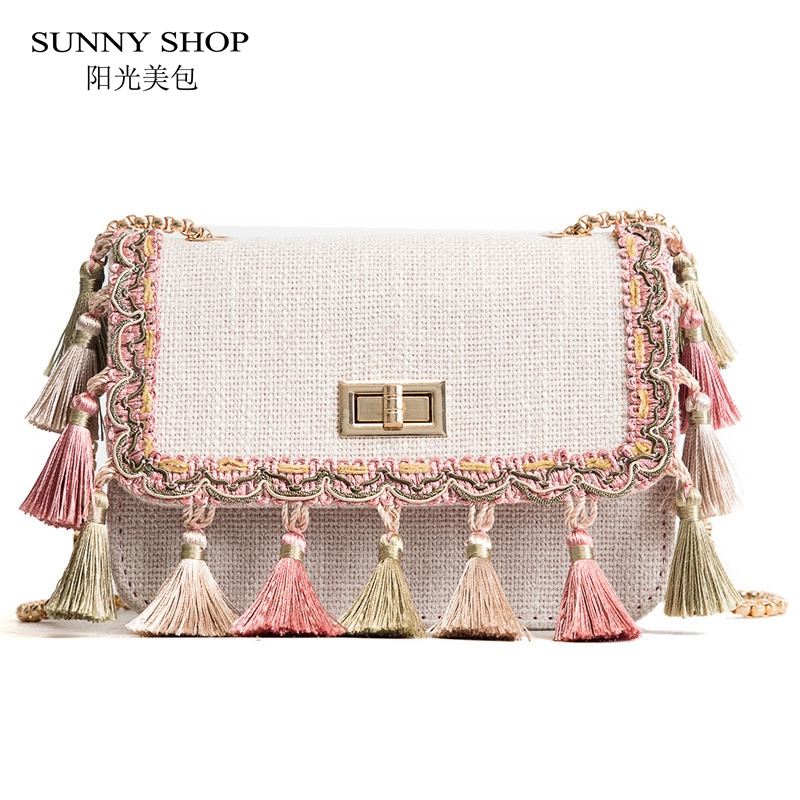 SUNNY SHOP Boho Fringe Crossbody Bag High Quality Women Fashion 2018 Mini Chain Shoulder Bag Canvas National Fashion Summer Bag ...