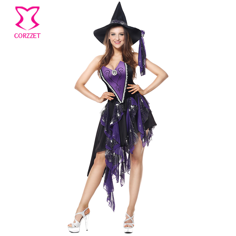 Corzzet Purple Cotton Straps Halloween Witch Costume for Women Adult Adulto  Fantasia Dress Hat Cosplay Clothing for Woment 9573d0c8c2