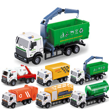 1:64 Mini Toy Car Model Alloy Garbage Truck Sprinkler Rescue Vehicle Engineering Green Display Stand Childrens Gifts