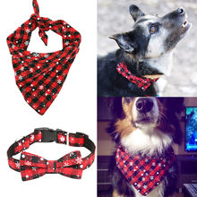 Snowflake Bow Tie Pet Dog Collar Comfortable Breathable Pet Bib Scarf Dog Neckerchief Lattice Plaid Bow-knot Dog Cat Collar(China)