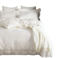 White Lace Princess Bedding set luxury Egypt cotton Embroidered duvet cover bed sheet pillowcases King Queen size bedclothes