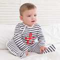Baby Boy Summer Toddler Blue White Stripe Romper Babykleidung Newborn Clothes Baby Boys Romper Long Sleeve Summer 707073