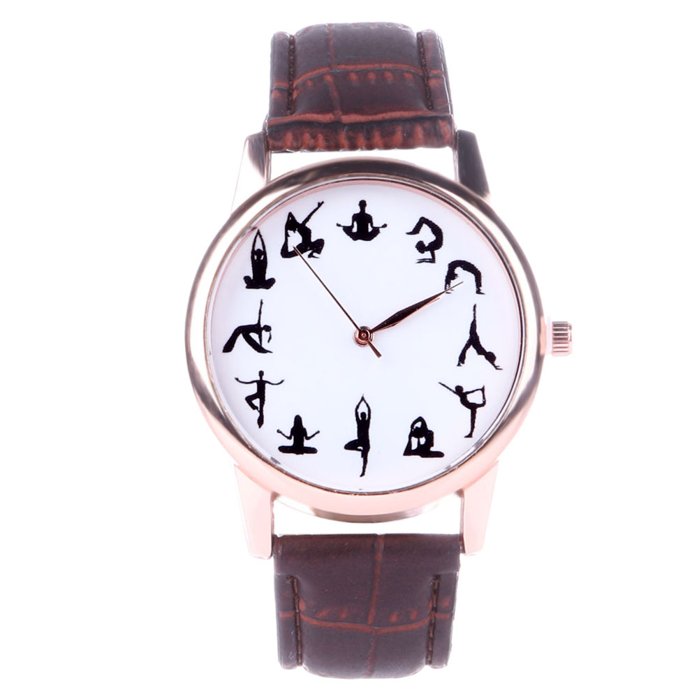 Fashion Quartz Wrist Watches Casual Women's Watch Yoga Design Dial PU Leather Band Buckle Clock Female Simple Hour Reloj Mujer