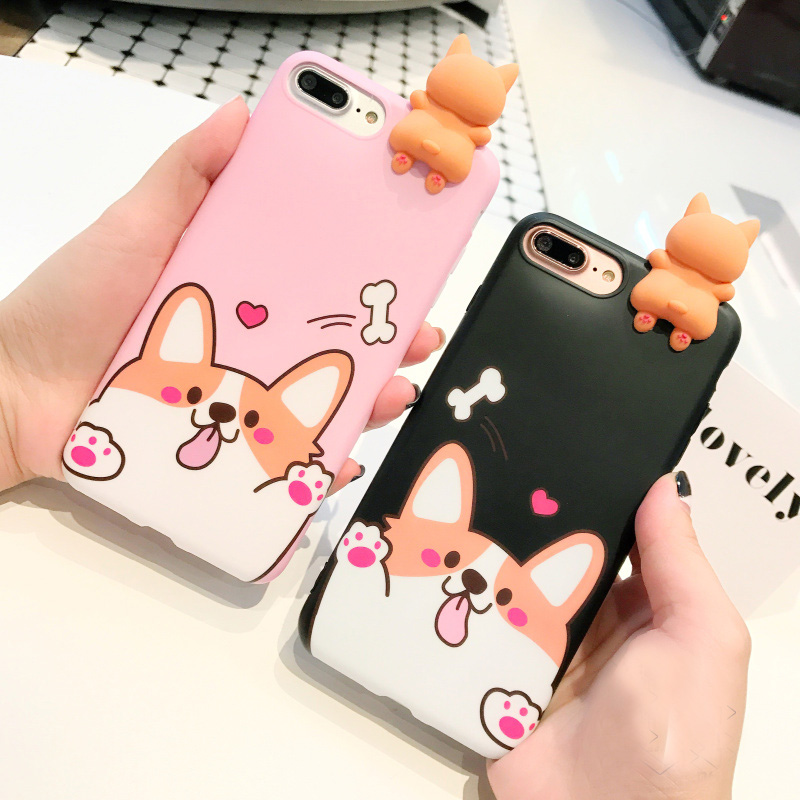 For iPhone 7 7 Plus 3D Welsh Corgi dog phone Cases For iphone 6 6s 6plus 8 8plus Cute pet dog Toys soft silicon case back cover