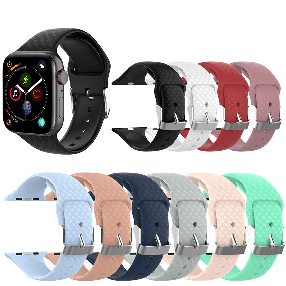 38 40mm 42 44mm 3D Stereoscopic Texture Visual Effects Replacement Silicone Sport Band Strap for Apple Watch Series 1234 IWatch in Smart Accessories from Consumer Electronics