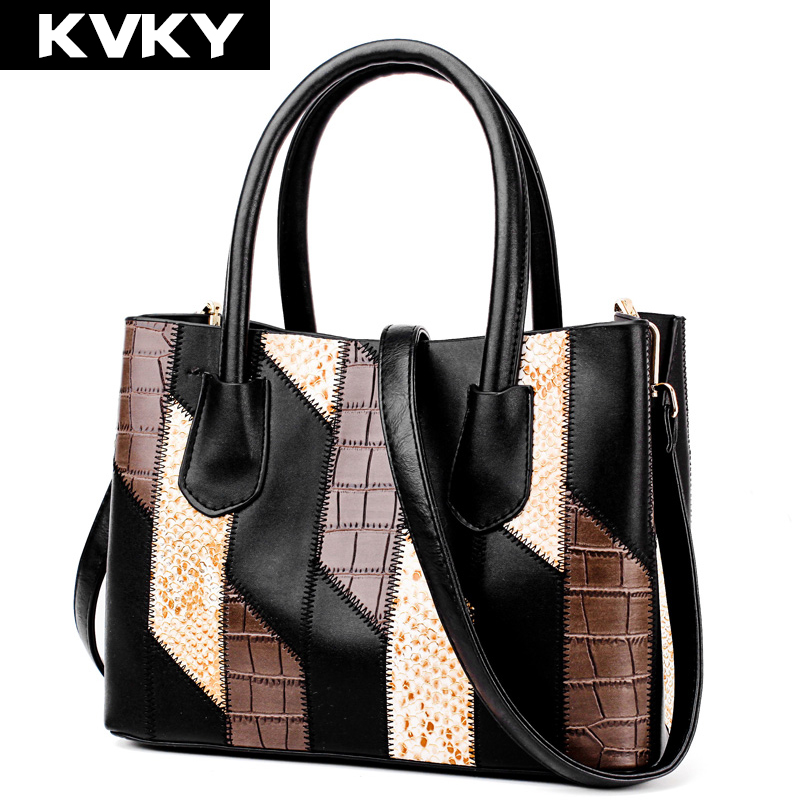 KVKY Brand PU Leather Women Handbags High Quality Patchwork Female Shoulder Bags Casual Tote Ladies Messenger Bag bolsa feminina kvky women fashion canvas handbags girl stripes shoulder bag large capacity ladies messenger bags casual tote bag bolsa feminina