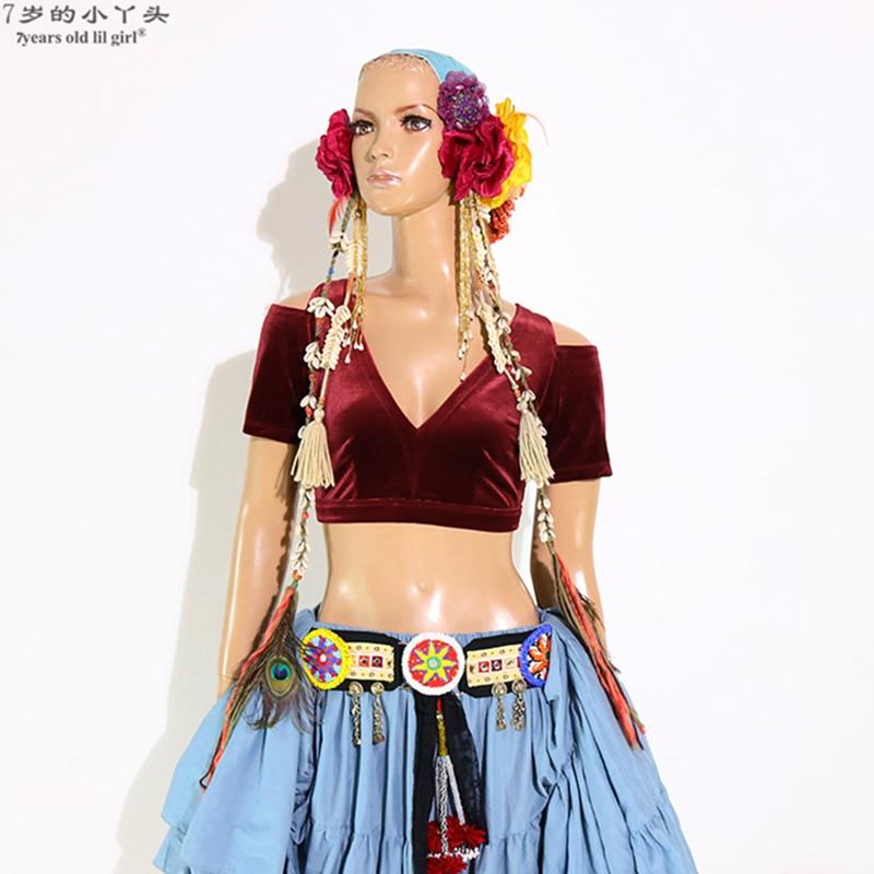 Belly Dance Velvet Fat Chance Tribal Choli Belly Dance Costume Short Drop Sleeve Top CJJ17