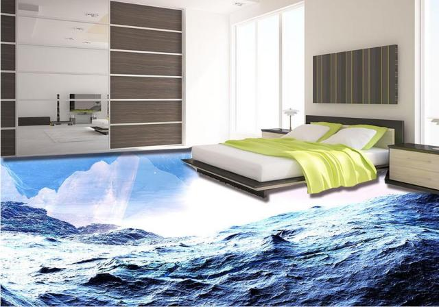 Vinyl flooring waterproof custom 3d mural wallpaper for Bathroom floor mural sky