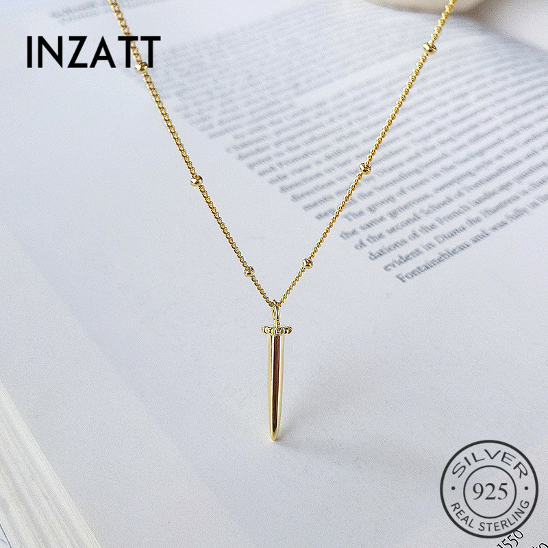 INZATT Real 925 Sterling Silver Minimalist Glossy Cone Pendant Necklace For Charming Women Party Hiphop Fine JewelryINZATT Real 925 Sterling Silver Minimalist Glossy Cone Pendant Necklace For Charming Women Party Hiphop Fine Jewelry