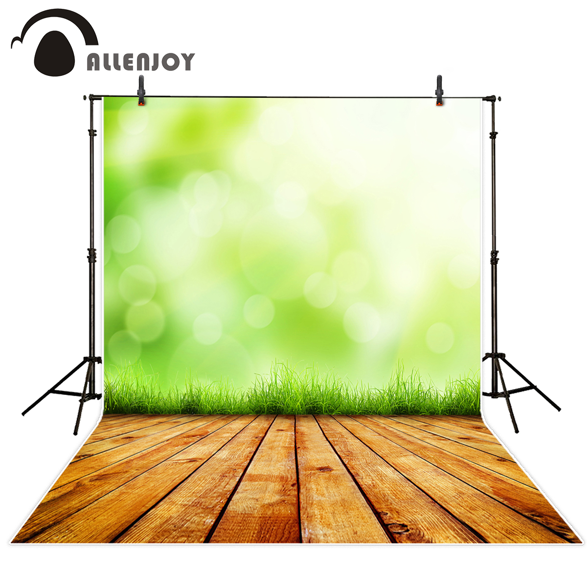 Allenjoy photography backdrops green grass bokeh sunlight wood floor photo background spring natural fotografia props photocall