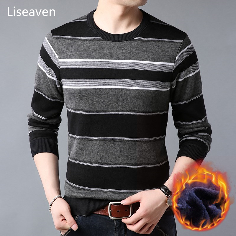 Liseaven Pullover Sweater Men Fleece Winter Sweaters Warm Knitwear Pullovers Men's Clothing
