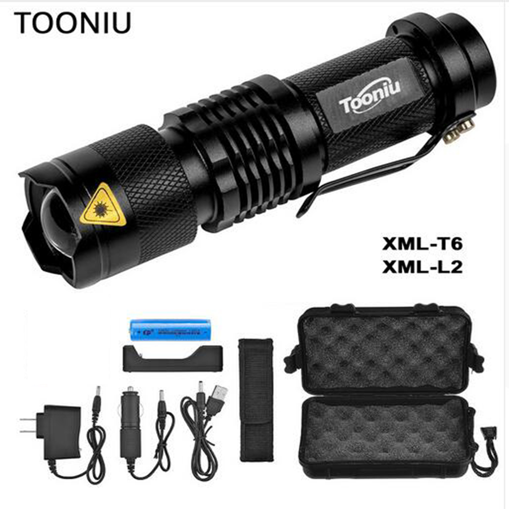 Tooniu Mini Zoom cree XML L2 T6 Flashlight Led Torch 5 mode 3800 Lumens waterproof 18650 Rechargeable battery albinly led flashlight zoom cree xml l2 led torch 5 mode 8000 lumens waterproof use 18650 rechargeable battery sent free gift