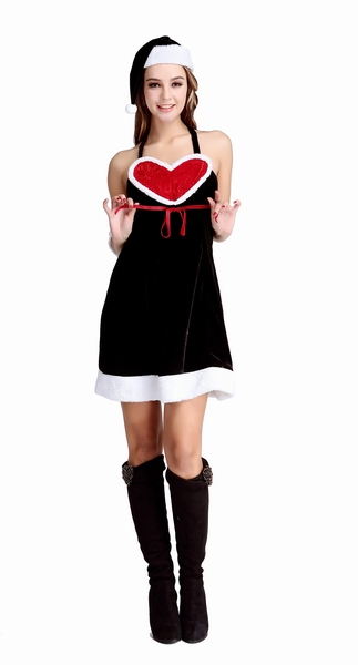 Free Shipping Christmas Black Sexy Party Dress Cute Costume For Lady