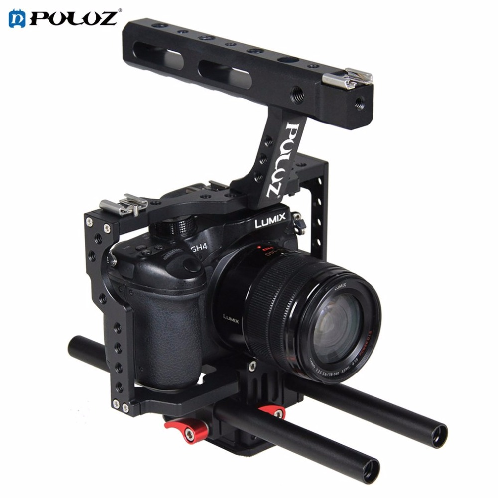 PULUZ PU3010 Durable Aluminum Camera Cage Steadicam Stabilizer Handheld Ergonomic Handle Suitable for Sony A7 A7S A7R2