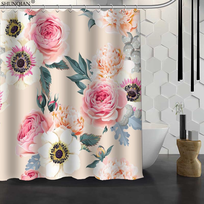 New Classic Flower Pattern Custom Shower Curtain Waterproof Fabric Bath Curtain Polyester Fabric Bathroom Curtain 18-4.11